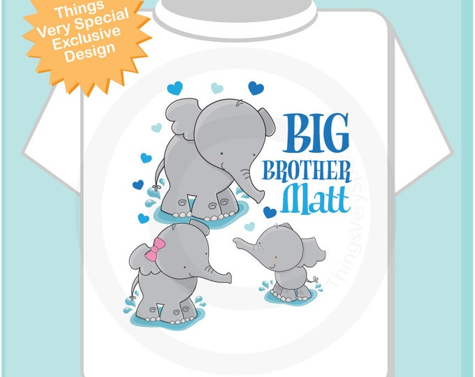 Boy's Personalized Three Elephant Big Brother Shirt or Onesie, Pregnancy Announcement, with two other siblings