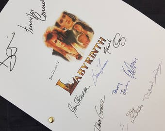 Labyrinth Film Movie Script with Signatures / Autographs Reprint Unique Gift Christmas Xmas Present TV Screenplay Geek 80s David Bowie