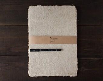 Writing paper, bookbinding, homemade paper, deckle edge, natural paper, organic, ivory, single sheet (code#12)