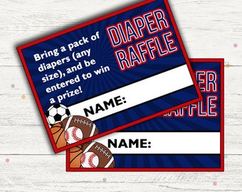 Sports Diaper Raffle Tickets. (All Star Baby Shower Game). Printable. Instant Download.
