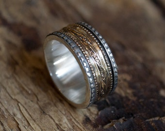 Silver gold ring, wedding band, unisex ring, unique wedding ring, gypsy ring, spinner ring, meditation ring, fidget ring, boho - Crush R2076