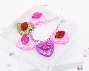 Valentines Day Love Hearts Kiss Lips Pink Red Gold Glitter Charm Necklace