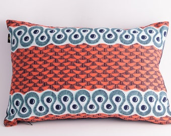 COVER only - Geometric Eyes - Salmon, blue and green Wax Print Cushion cover