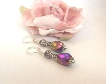Amethyst Earrings Victorian Filigree Drop Earrings Gemstone
