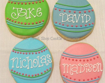 Personalized Easter Egg cookies 2 dozen