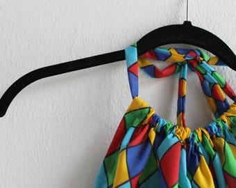 Rainbow harlequin festival halter crop top