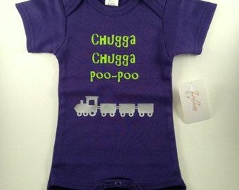 Funny Baby Clothes - Baby Boy Clothes - Funny Boy Clothes - Train Baby Clothes - Unique Baby Clothes - Chugga Chugga Poo Poo Design