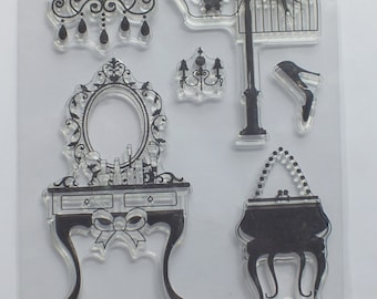 1 pack of clear stamps Dressing Table Birdcage and bird