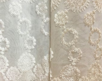 Sheer Fabric - Polyester Patterned Sheer Panel - White or Champagne Sheer  - Decorative Shaped Hem  - Singed Flower Fabric - P09 - 1 Panel
