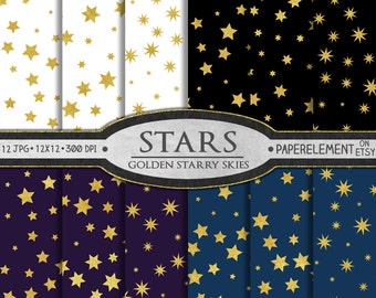 Gold Star Digital Paper: Navy and Gold Stars, Midnight Purple and Gold Stars, Black and Gold Stars, White and Gold Star Background Patterns