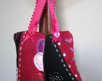 CLEARANCE Valentines Day Pincushions Sewing Upcycled Repurposed Ugly Sweater- Set of Two