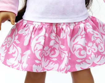 Fits like American Girl Doll Clothes - A Yoke Skirt in Pink Dandy Damask | 18 Inch Doll Clothes
