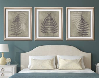 Ferns of Tuscany (Series B3) Set of 3 - Art Prints (Featured in Charcoal and Italian Stone) Nature Woodland Inspired