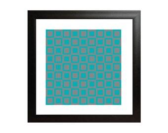 Blue & Grey Squares OP Art Print - Op Art Poster - Square Geometric Wall Art