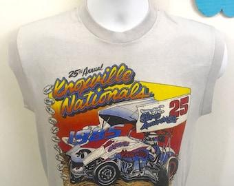 True Vintage 1985 Sprint Car Racing Knoxville Nationals USA Graphic T-Shirt M ukiyo Hipster rad