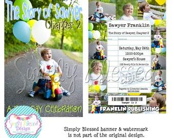 Book Worm BOOK Birthday Invitation - DIY By: SimplyBlessedDesign