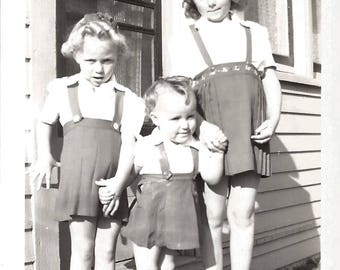 "Vintage Snapshot ""Sibling Rivalry"" Body Language Sisters Baby Of The Family Found Vernacular Photo"