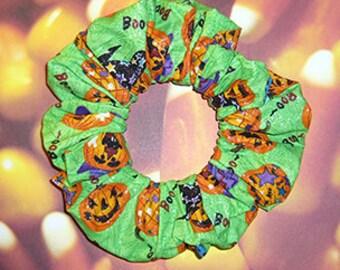 Halloween Hair Scrunchie, Holiday Hair Tie, Autumn/Halloween Ponytail Holder , Party Jack-o-Lanterns