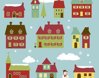 Winter Village Clip Art Clipart Winter Houses Clip Art Clipart Christmas Village - Commercial Use