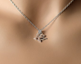All Sterling Silver Inital  Necklace, Dainty Personalized Initial Jewelry