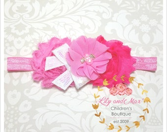 Pink shabby flower headband, hot pink and pink tones shabby flower elastic headband