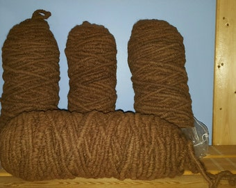 Brown Alpaca Rug Yarn - Corespun Alpaca Yarn - 100 yards - 100% Virginia alpaca fiber - undyed seconds (neck fiber) - ON SALE