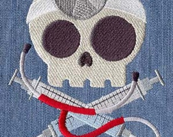 Doctor Skully Embroidered Flour Sack Hand/Dish Towel
