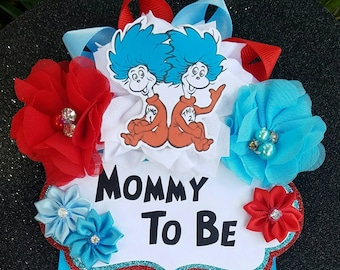 Dr. Seuss Thing 1 and Thing 2 Themed Mommy To Be Baby Shower Corsage