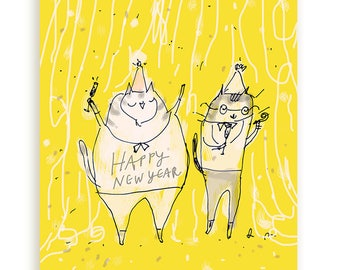 Happy New Year Card - Happy New Year Cats - Yellow