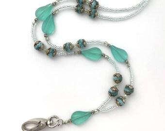 Green Beaded ID Badge Lanyard - Seafoam Green Glass Beads - ID Necklace - BL118