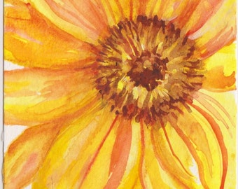 Sunflower watercolor painting original,  4 x 6  farmhouse decor  sunflower painting, small floral art, yellow watercolor flower artwork