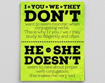 Don't Doesn't Grammar Verb Conjugation English Teacher Gift Classroom Poster Dorm Decor Office Decor Editor Writer Author Typographic Print