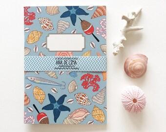 notebook journal - A5 -original cute pattern - beach treasures