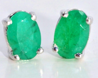 White Gold Genuine Emerald Oval Stud Earrings .925 Sterling Silver Rhodium Finish