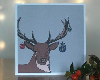 Festive Stag Christmas Cards and Envelopes (Pack of 4)