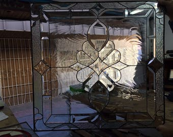 "The Magnificent ""Reedman"" Victorian Beveled Stained Glass  Window Panel (We do custom work, email for a quick quote)"