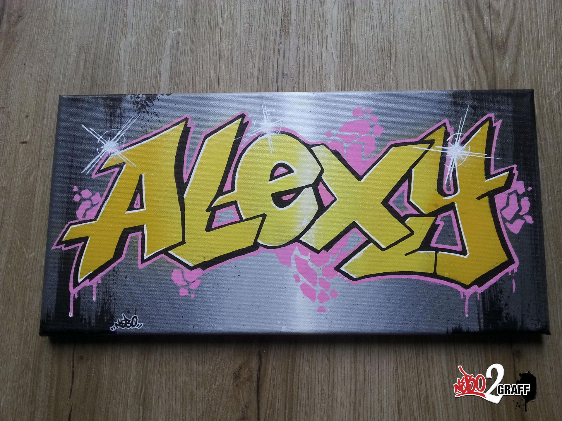 Tableau graffiti pr nom tag personnalis toile id e cadeau - Graffiti prenom gratuit ...
