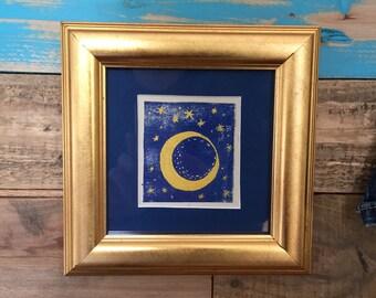 Gilt framed, hand coloured and cut lino print