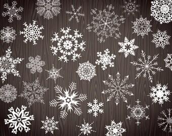 Instant Download Digital White Snowflake Clip Art Chalkboard Snowflake Clipart Christmas Clip Art Christmas Scrapbooking Snowflake 0367