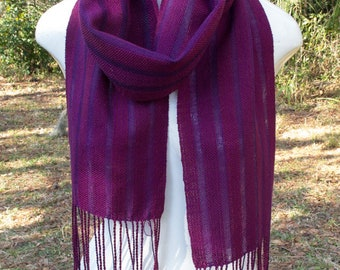 Handwoven Scarf, shadow stripes in plain weave, lightweight, cotton and tencel in light and dark purple