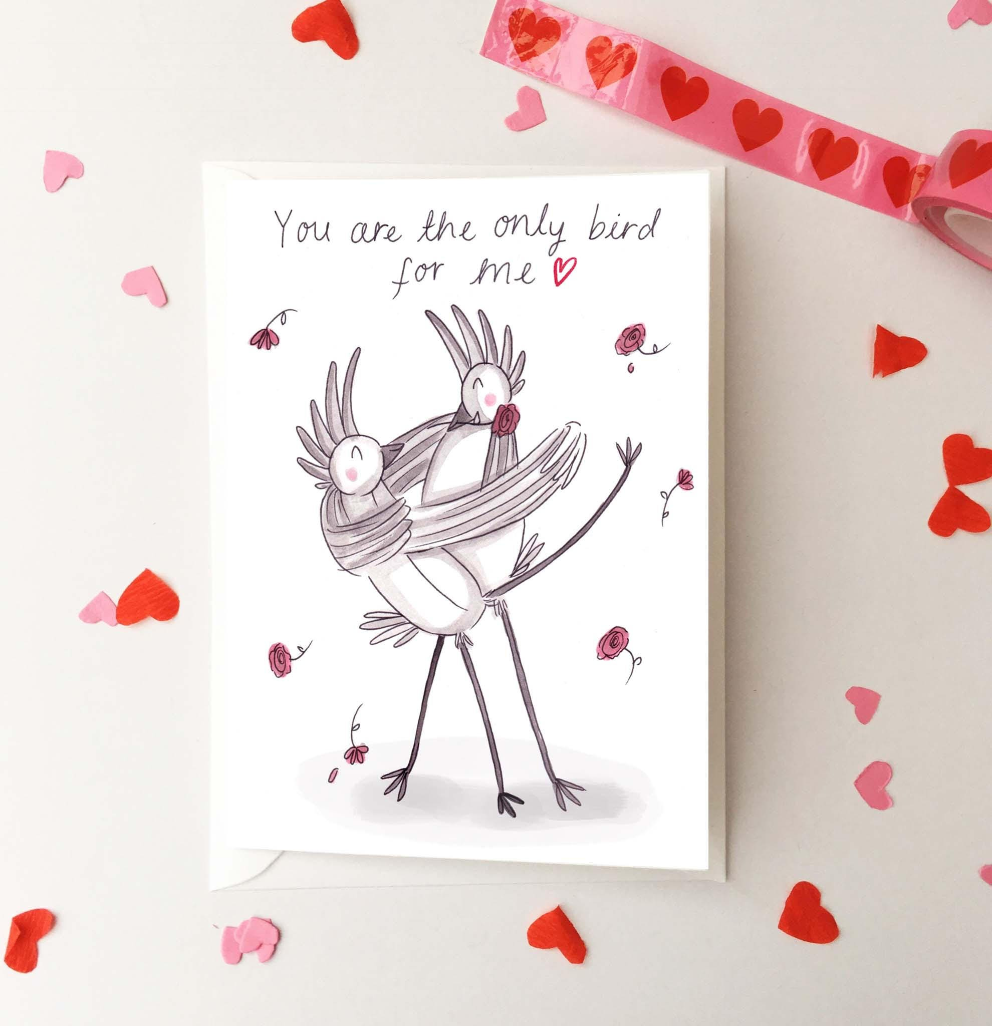 Funny bird valentines day card youre the only bird zoom kristyandbryce Gallery