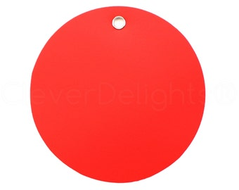 """200 Pk - 3"""" Round Red Plastic Tags - Tear-proof and Waterproof - 3 Inch Diameter - Inventory Asset ID Price Tags - 76mm"""