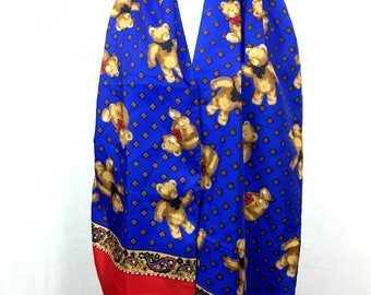 70s cute bears scarf / vintage scarf royal blue / bear print / gift / valentines / sweet scarf