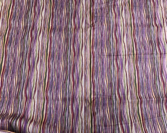 2 Yards in Two Pieces of Vintage Yellow, Maroon, Purple & Green Stripes Poly Cotton Blend Fabric