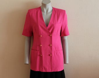 Women's  Blazer Pink Blazer Pink Womens Jacket Short Sleeve Fitted Jacket Padded Shoulder Double Breasted Medium Size