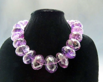 Impressive ~1700ct Faceted Amethyst Graduated Bead Necklace Huge Size