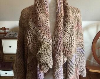 Hand-knit Circular Shawl with Sleeves