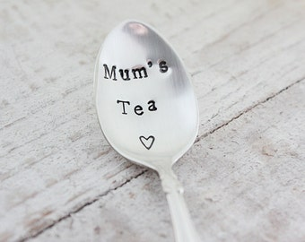 Mum's Tea. Vintage Tea Spoons. Hand Stamped Vintage Silverware by The Faded Nest