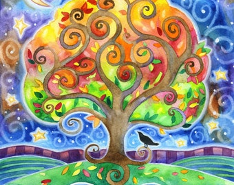 The River by the Tree - 8x10 Colorful Tree Fish Raven Moon Star Print
