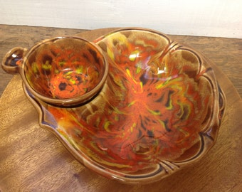 Mid Century California Pottery Chip and Dip Serving Bowl